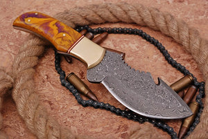 Custom Hand Forged Damascus Tracker Hunting Knife Brass bolster Resin Wood Handle-AJ-1925