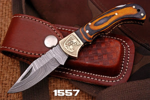 Damascus Folding Knife Stain Wood Handle with engraved bolster-AJ 1557