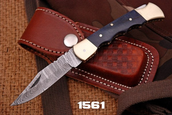 Custom Hand Forged Damascus Folding Knife Brass bolster & Stain Wood Handle-AJ 1561