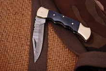 Load image into Gallery viewer, Custom Hand Forged Damascus Folding Knife Brass bolster & Stain Wood Handle-AJ 1561