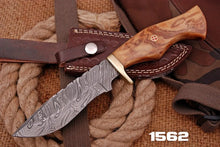 Load image into Gallery viewer, Custom Hand Forged Damascus Hunting Knife Olive Wood Handle brass Guard-AJ 1562