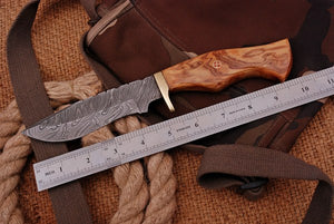 Custom Hand Forged Damascus Hunting Knife Olive Wood Handle brass Guard-AJ 1562