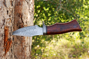 Custom Hand Made Damascus Steel Hunting Knife Damascus Guard with Rose wood Handle-AJ 2857
