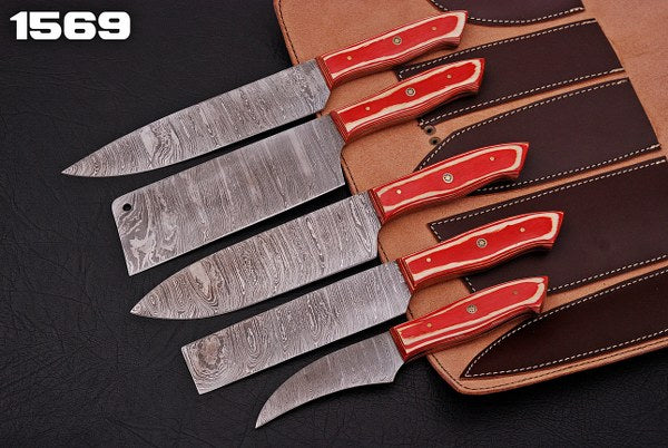 Custom Hand Forged Damascus Chef Knife Set Stain wood Handle-AJ 1569