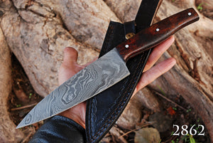 Custom Hand Forged Damascus Steel Hunting Chef Knife with Rose Wood Handle AJ 2862