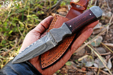 Load image into Gallery viewer, product image Hand Forged Damascus Steel Dagger Boot Knife Damascus Bolster with Rose Wood Handle-AJ-2863