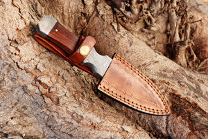 product image Hand Forged Damascus Steel Dagger Boot Knife Damascus Bolster with Rose Wood Handle-AJ-2863