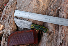 Load image into Gallery viewer, Custom Hand Forged Damascus Hunting Knife Stained& Rose Wood Handle-AJ-2867