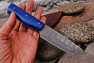 Custom Hand Made Damascus Steel Hunting Knife with Bone Handle-AJ 2915