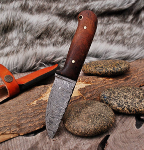 Customs Hand Forged Damascus Hunting Knife with Rose Wood Handle-AJ-2916
