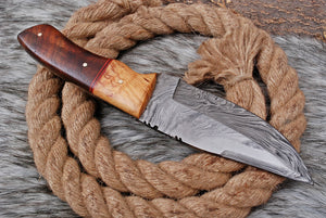 Custom Hand forged Damascus Steel Hunting Knife with Olive Wood & rose wood Handle AJ-3167