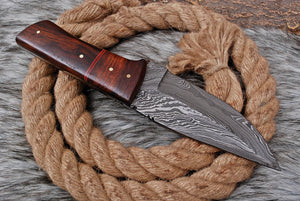 Custom Hand forged Damascus Steel Hunting Knife with rose wood handle AJ-3168