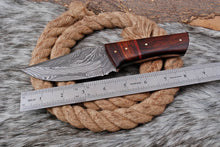 Load image into Gallery viewer, Custom Hand forged Damascus Steel Hunting Knife with rose wood handle AJ-3168