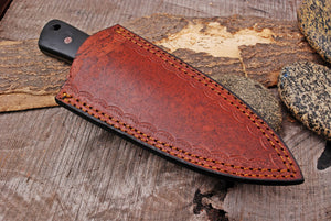 Custom Hand Forged Damascus Steel Hunting Knife Brass Bolster with Micarta& Stained Wood Handle-AJ-2935