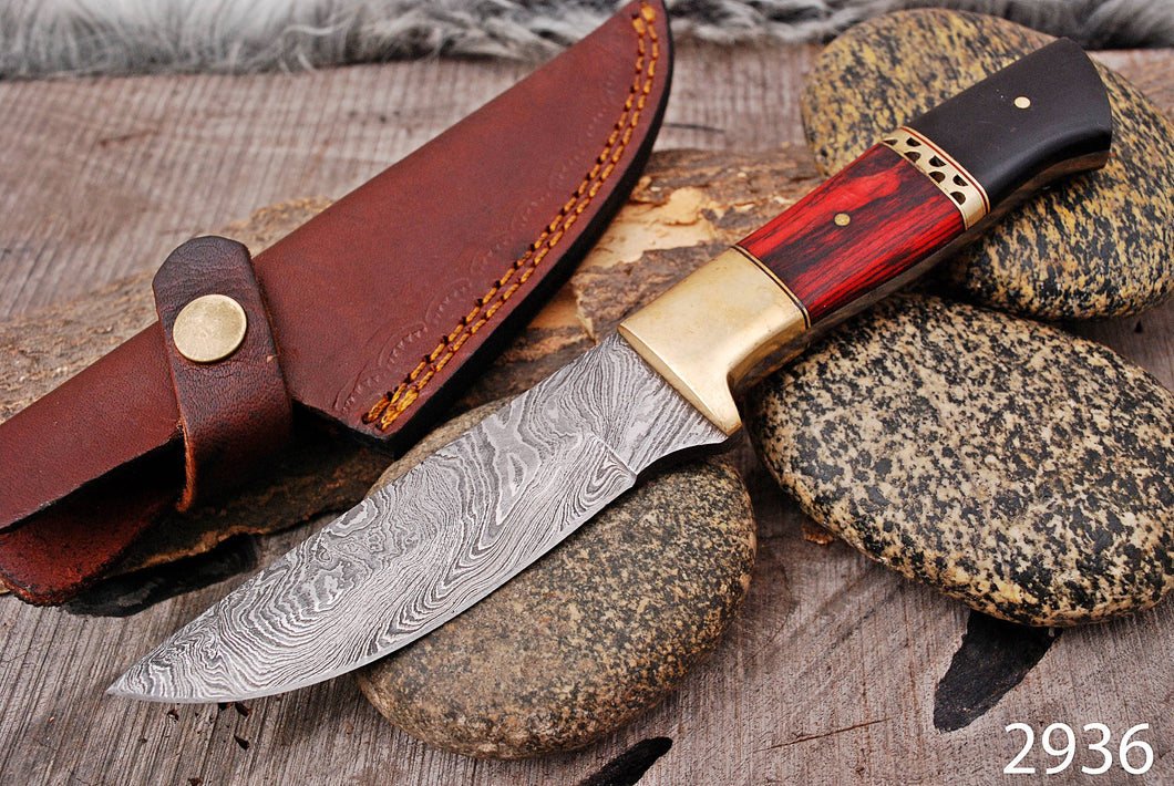 Custom Hand Forged Damascus Steel Hunting Knife Brass Bolster with Micarta& Stained Wood Handle-AJ-2936