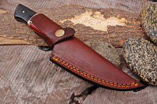 Load image into Gallery viewer, Custom Hand Forged Damascus Steel Hunting Knife Brass Bolster with Micarta& Stained Wood Handle-AJ-2936