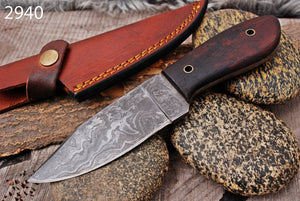 Custom Hand Forged Damascus Hunting Knife Rose Wood Handle-AJ-2940
