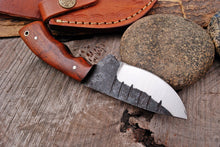 Load image into Gallery viewer, Custom Hand Forged Damascus steel Hunting Knife Rose wood Handle -AJ 2953