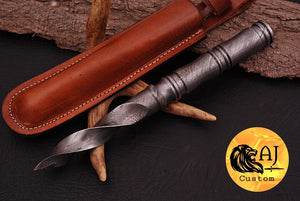 Custom Hand Forged Damascus Forged Steel Vampire Spike thread handle Rondel Knife- AJ 14
