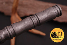 Load image into Gallery viewer, Custom Hand Forged Damascus Forged Steel Vampire Spike thread handle Rondel Knife- AJ 14