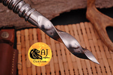 Load image into Gallery viewer, Custom Hand Made D2 Steel Vampire Spike thread handle rondel Knife-AJ 15