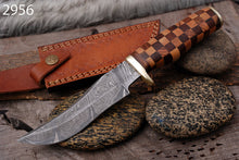 Load image into Gallery viewer, Customs Hand Forged Damascus Steel Hunting Knife Brass guard  With olive wood &  rose  Wood Handle AJ 2956