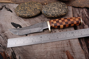 Customs Hand Forged Damascus Steel Hunting Knife Brass guard  With olive wood &  rose  Wood Handle AJ 2956