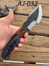 Load image into Gallery viewer, Custom hand Forged Railroad Spike Carbon Steel Fix Blade Hunting Tracker Knife AJ-032