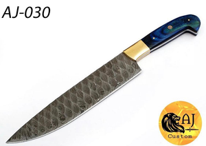 Hand forged damascus Chef Knife brass bolster Stain wood Handle -AJ-030