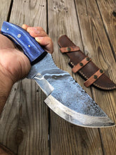 Load image into Gallery viewer, Customs Hand Forged Damascus Tracker Hunting Knife Stained Wood Handle-AJ-063