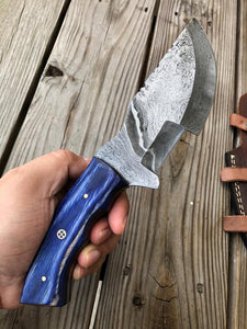 Customs Hand Forged Damascus Tracker Hunting Knife Stained Wood Handle-AJ-063