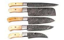 Load image into Gallery viewer, Customs Handmade forged Damascus Chef Knife Set Steel Bloster With Bone Handle Handle -AJ-97