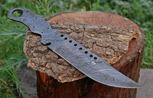 Customs Hand forged Damascus Steel hunting knife Blank Blade full Tang-AJ-092