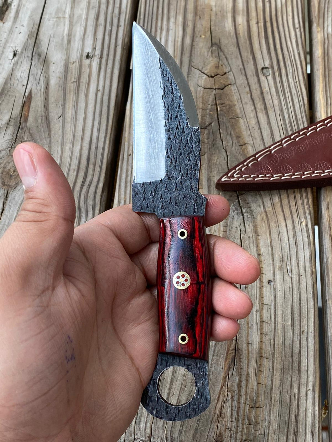 Customs Hand Forged Railrod Spike Carbon Steel Hunting Knife Stained Wood Handle-AJ-099