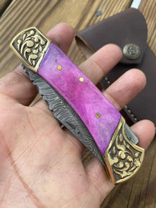 Custom Hand Forged Damascus Steel Folding Knife& Brass Bolster With Bone Handle AJ 164