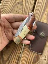 Load image into Gallery viewer, Custom Hand Forged Damascus Steel Folding Knife& Brass Bolster With Rose Wood and Bone Handle AJ 167