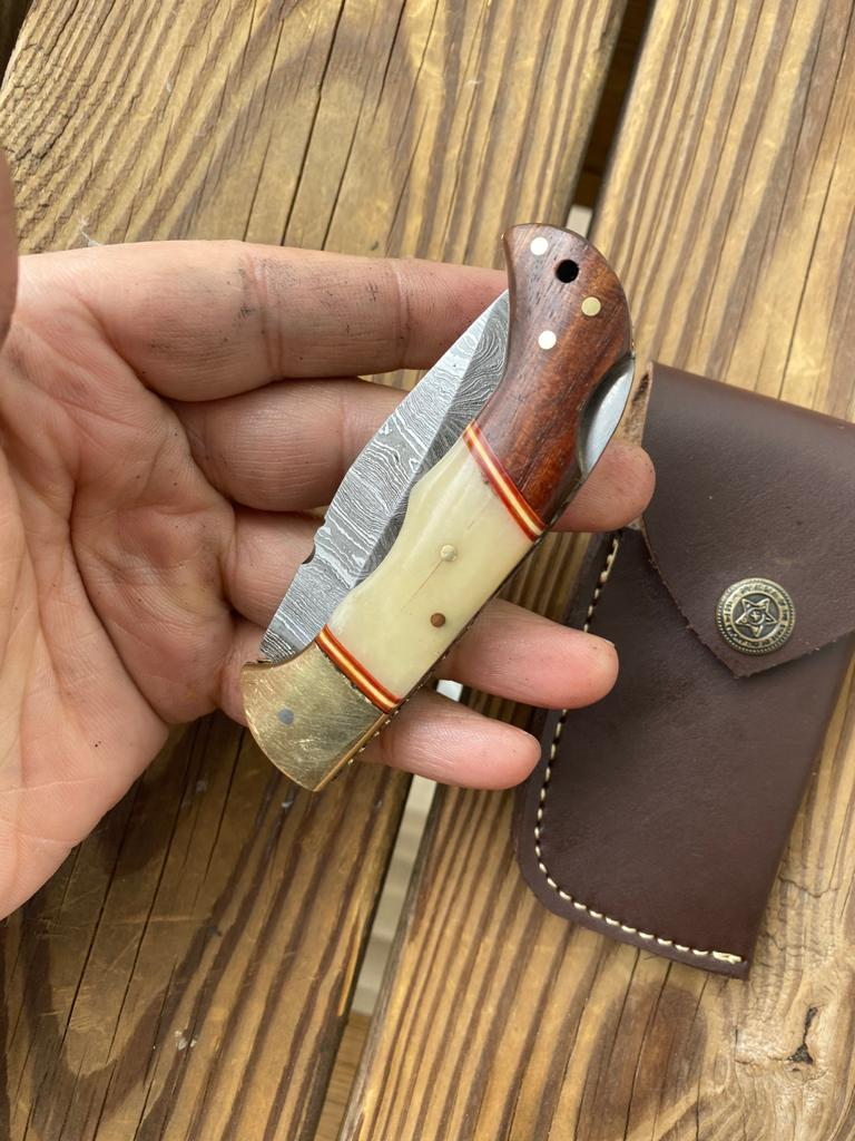 Custom Hand Forged Damascus Steel Folding Knife& Brass Bolster With Rose Wood and Bone Handle AJ 167