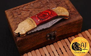 Custom Hand Forged Damascus Steel Folding Knife& Brass Bolster With Stained Wood Handle AJ 165