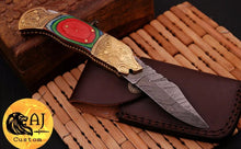 Load image into Gallery viewer, Custom Hand Forged Damascus Steel Folding Knife& Brass Bolster With Stained Wood Handle AJ 165