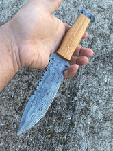 Load image into Gallery viewer, Custom Hand Forged Carbon Steel Hunting Knife with Olive Wood Handle AJQ-0086