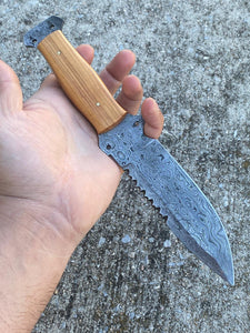 Custom Hand Forged Carbon Steel Hunting Knife with Olive Wood Handle AJQ-0086