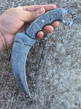 Load image into Gallery viewer, Custom Hand Forged Damascus  Karambit Hunting Knife With Damascus Steel Handle comes with Leather sheath  AJ-0096