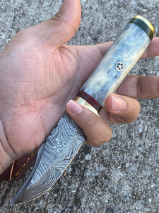 Custom Hand Forged Carbon Steel Hunting Skinner Knife with Bone Handle AJQ-0087