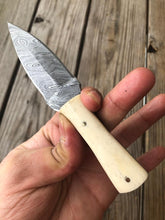 Load image into Gallery viewer, Hand forged Damascus Steel Hunting Knife With White Bone Handle-AJ-111