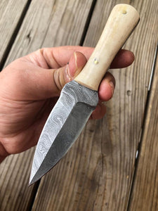 Hand forged Damascus Steel Hunting Knife With White Bone Handle-AJ-111