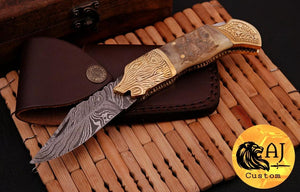 Custom Hand Forged Damascus Folding Knife Engraved brass & ram horn handle-AJ 07