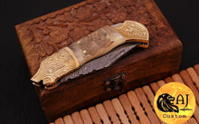 Load image into Gallery viewer, Custom Hand Forged Damascus Folding Knife Engraved brass & ram horn handle-AJ 07