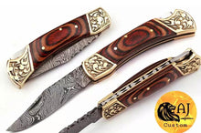 Load image into Gallery viewer, Damascus Folding Knife Engraved brass bolster wood Handle -AJ 11
