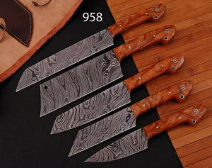 "5 ""Pieces HandMade collectibles Damascus steel chef knives set kitchen set"