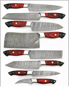 Customs Hand forged damascus steel chef knives set kitchen knives set